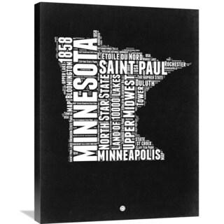Naxart Studio 'Minnesota Black and White Map' Stretched Canvas Wall Art