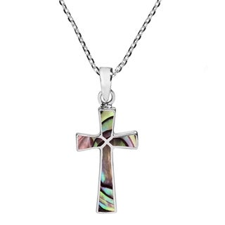 Handmade Minimalism Cross Natural Stone .925 Silver Necklace (Thailand) (More options available)