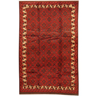 Herat Oriental Afghan Hand-knotted 1960s Semi-antique Tribal Balouchi Wool Rug (5'4 x 9'2)