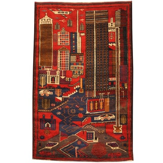 Herat Oriental Afghan Hand-knotted 1960s Semi-antique Tribal Balouchi Wool Rug (4'1 x 6'6)