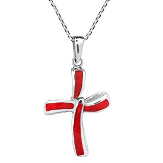 Handmade Infinity Twist Cross Natural Stone Sterling Silver Necklace (Thailand)