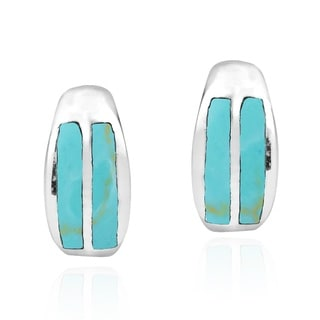 Touch of Natural Stones Inlay Sterling Silver Post Earrings (Thailand)