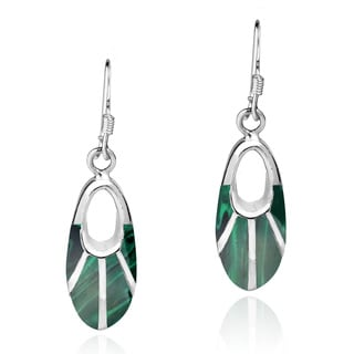 Handmade Celestial Oval Natural Stone Inlay.925 Silver Earrings (Thailand)