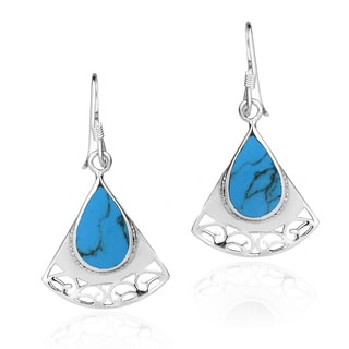 Triangle Swirl TearDrop Stones .925 Silver Dangle Earrings (Thailand)