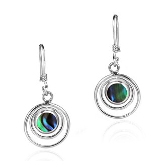 Handmade Cascading Orbits Stones Sterling Silver Dangle Earrings (Thailand)