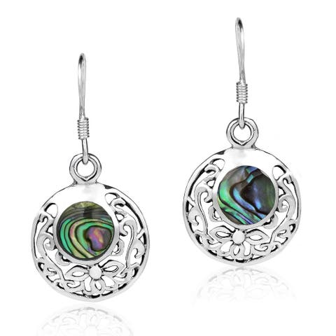 Handmade Circle Filigree Stone Sterling Silver Dangle Earings (Thailand)