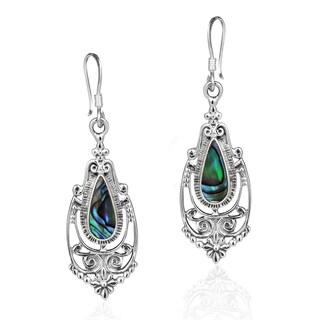 Handmade Victorian Teardrop Stone Inlay .925 Silver Dangle Earrings (Thailand)
