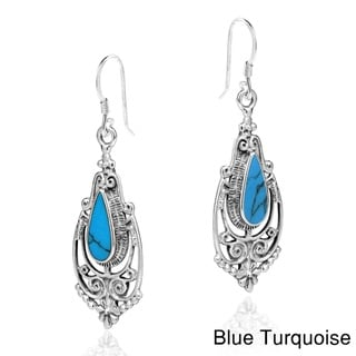 Victorian Teardrop Stone Inlay .925 Silver Dangle Earrings (Thailand)