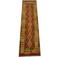 Herat Oriental Afghan Hand-woven Vegetable Dye Wool Kilim Runner - 2'8 x 9'8