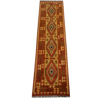 Herat Oriental Afghan Hand-woven Vegetable Dye Wool Kilim Runner (2'8 x 9'10)
