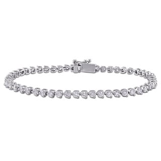 Miadora Signature Collection 14k White Gold 3 5/8ct TDW Diamond Tennis Bracelet