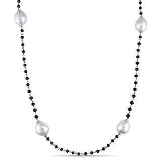 Miadora Signature Collection 14k White Gold 6ct TDW South Sea Pearl and Black Diamond Beaded Station Necklace (9.5-12mm)