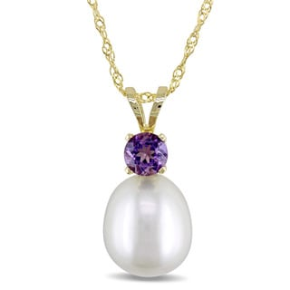 Miadora 14k Yellow Gold Freshwater Cultured Pearl and Amethyst Teardrop Necklace (8-8.5mm)