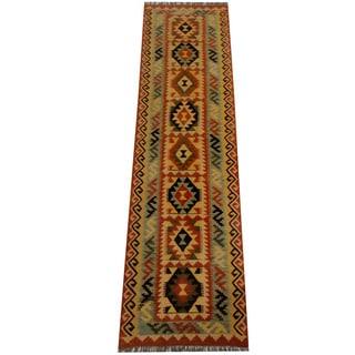 Herat Oriental Afghan Hand-woven Vegetable Dye Wool Kilim Runner (2'7 x 9'9)