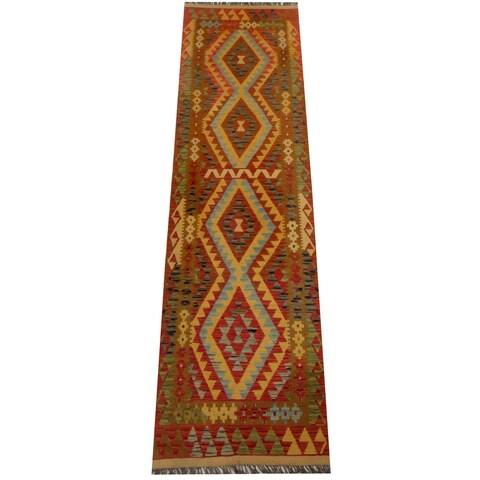 Handmade Herat Oriental Afghan Vegetable Dye Wool Kilim Runner - 2'9 x 10'2 (Afghanistan)
