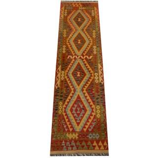 Handmade Herat Oriental Afghan Vegetable Dye Wool Kilim Runner (Afghanistan) - 2'9 x 10'2
