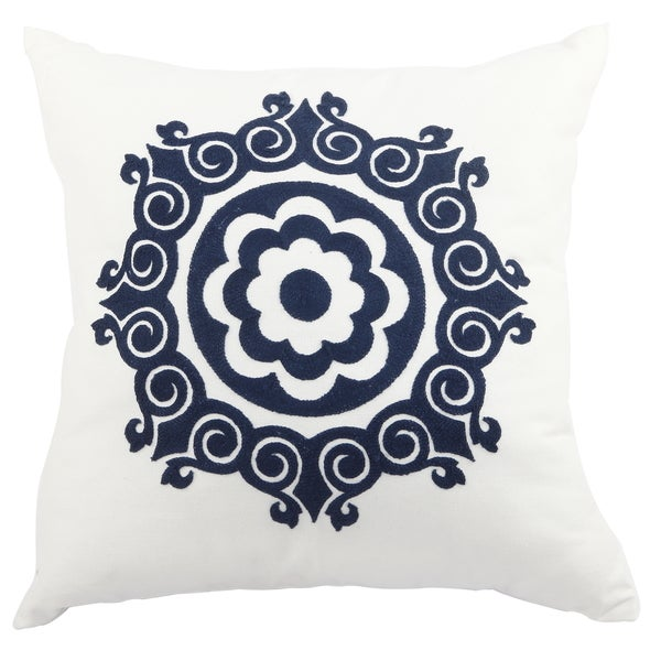 White/Blue Polyester 20-inch x 20-inch Embroidered Throw Pillow