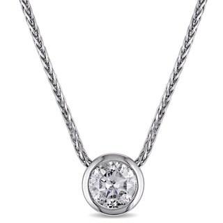 Miadora Signature Collection 14k White Gold 1ct TDW Diamond Solitaire Bezel-Set Necklace