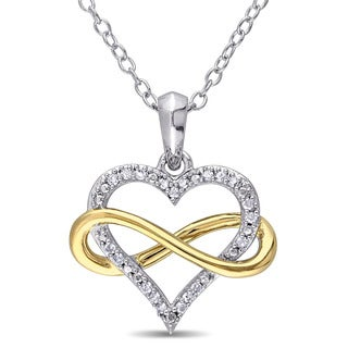 Link to Miadora Two-Tone Sterling Silver 1/10ct TDW Diamond Infinity Heart Necklace Similar Items in Necklaces