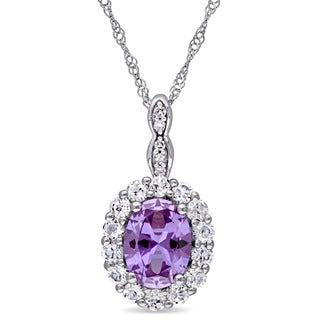 Miadora 14k White Gold Created Alexandrite and White Topaz Diamond Accent Oval Shaped Halo Necklace (G-H, I1-I2)