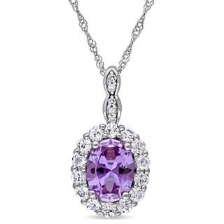 Miadora 14k White Gold Created Alexandrite and White Topaz Diamond Accent Oval Shaped Halo Necklace (G-H, I1-I2)