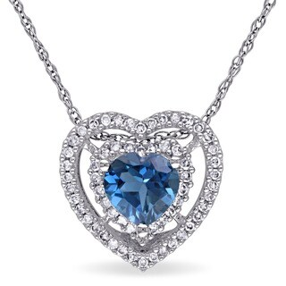 Miadora 10k White Gold London Blue Topaz and 1/5ct TDW Diamond Heart Shaped Halo Necklace (G-H, I2-I3)
