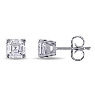 Miadora Signature Collection 14k White Gold 1 2/5ct TDW Asscher Cut Diamond Stud Earrings (E-F, SI1-SI2)