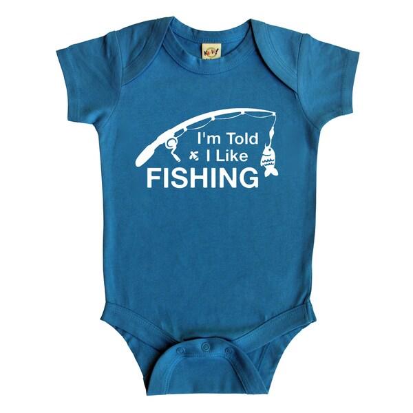 Rocket Bug I'm Told I Like Fishing Baby Bodysuit