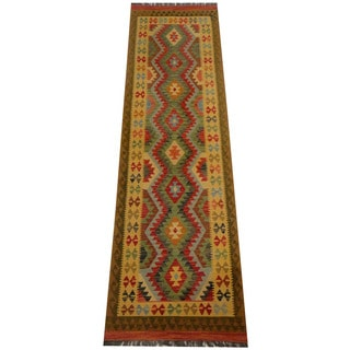 Herat Oriental Afghan Hand-woven Vegetable Dye Wool Kilim Runner (2'9 x 9'11)