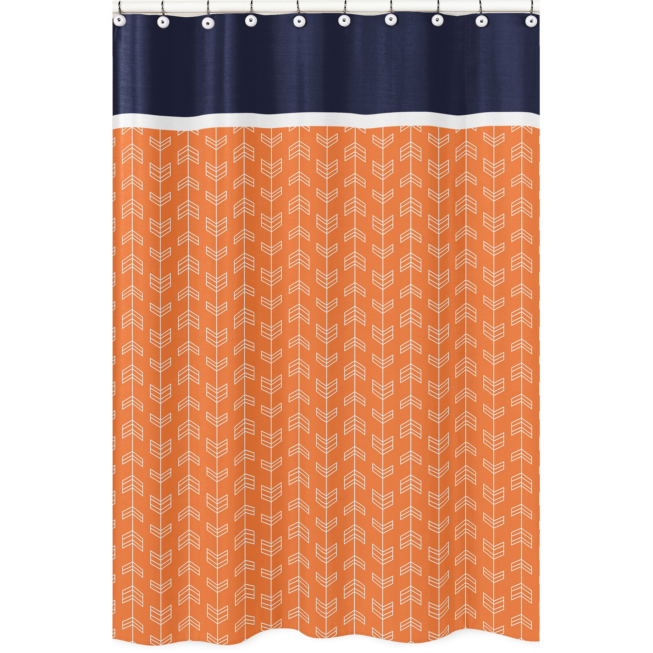 Orange And Navy Blue Arrow Shower Curtain Overstock 12388379