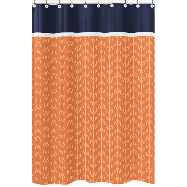 Shop Orange And Navy Blue Arrow Shower Curtain