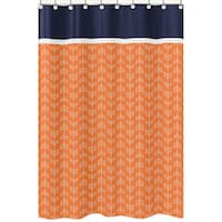 Orange and Navy Blue Arrow Shower Curtain