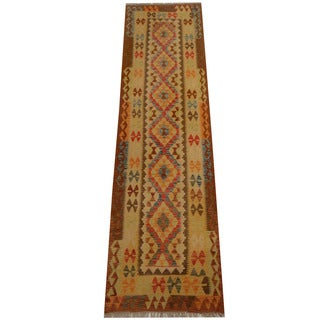 Herat Oriental Afghan Hand-woven Vegetable Dye Wool Kilim Runner (2'9 x 10'3)