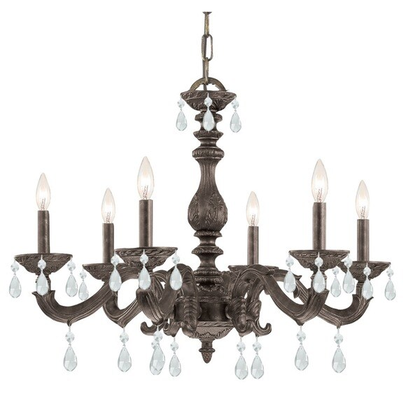 Crystorama Paris Market Collection 6-light Venetian Bronze/Crystal Chandelier