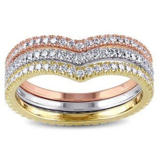 Miadora Tri-Color White Yellow and Rose Plated Sterling Silver Cubic Zirconia Chevron Stacking 3-Piece Ring Set