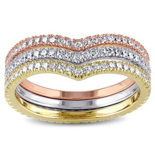 Miadora Tri-Color White Yellow and Rose Plated Sterling Silver Cubic Zirconia Chevron Stacking 3-Pie