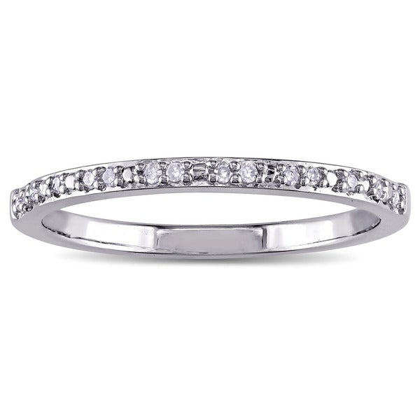 Miadora Sterling Silver Diamond Accent Wedding Band