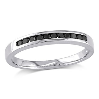 Miadora Sterling Silver and Black Rhodium Plated Silver 1/5ct TDW Black Diamond Wedding Band