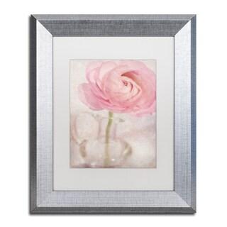 Cora Niele 'Single Rose Pink Flower' Matted Framed Art