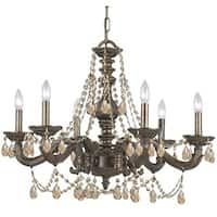 Crystorama Paris Market Collection 6-light Venetian Bronze/Golden Teak Swarovski Strass Crystal Chandelier