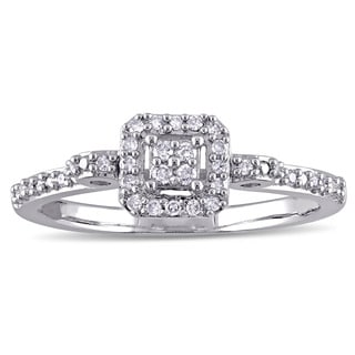 Miadora Sterling Silver 1/6ct TDW Diamond Clustered Halo Engagement Ring (G-H, I2-I3)