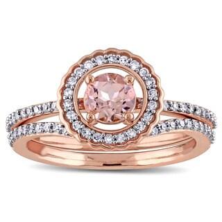 Miadora Signature Collection 10k Rose Gold Morganite and 1/2ct TDW Diamond Bridal Set