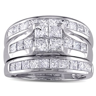 Miadora Signature Collection 14k White Gold 2 3/4ct TDW Princess-cut Diamond Channel-set Bridal Ring Set (G-H, I1-I2) (5 options available)