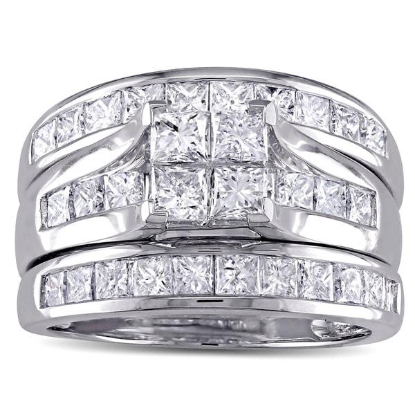 Miadora Signature Collection 14k White Gold 2 3/4ct TDW Princess-cut Diamond Channel-set Bridal Ring Set (G-H, I1-I2)