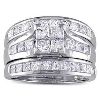 Miadora Signature Collection 14k White Gold 2 3/4ct TDW Princess-cut Diamond Channel-set Bridal Ring Set (G-H, I1-I2)