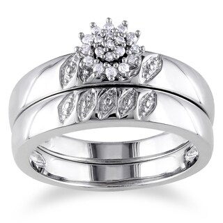 Miadora Sterling Silver 1/10ct TDW Diamond Cluster Bridal Ring Set (G-H, I2-I3)