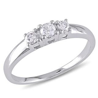 Miadora 14k White Gold 1/4ct TDW Diamond 3-Stone Promise Ring (G-H, I1-I2)