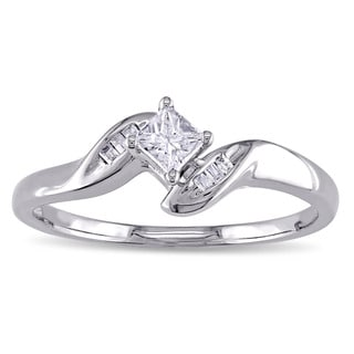 Miadora 14k White Gold 1/4ct TDW Princess-Cut Diamond Promise Ring