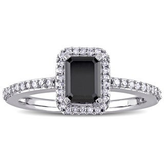 Miadora 10k White Gold 1 1/5ct TDW Black and White Diamond Halo Engagement Ring
