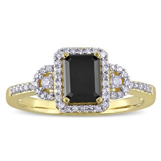Miadora 10k Yellow Gold 1 1/5ct TDW Black and White Diamond Halo 3-Stone Engagement Ring